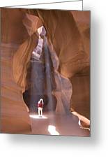 Woman In Antelope Canyon Greeting Card