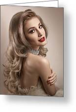 Woman In Big Curls Hollywood Glam Look Greeting Card