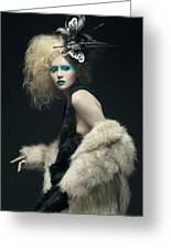 Woman In Black Avant-garde Attire With Butterfly Headdress Greeting Card
