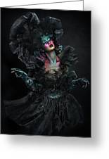 Woman In Black Gown And Headdress In Body Paint Greeting Card
