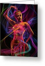 Woman In Colorful Body Paint With Light Streaks Greeting Card
