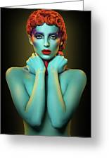 Woman In Cyan Body Paint With Curly Hairstyle Greeting Card