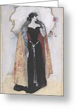 Woman In Evening Clothes And Cape Greeting Card