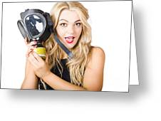 Woman In Fear Holding Gas Mask On White Background Greeting Card by Jorgo Photography - Wall Art Gallery