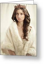 Woman In Fur Wrap Wearing Crown Greeting Card