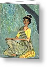 Woman In Grey And Yellow Sari Under Tree Greeting Card