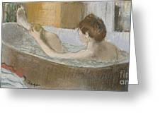Woman In Her Bath Greeting Card