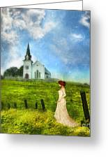 Woman In Lace By A Country Church Greeting Card