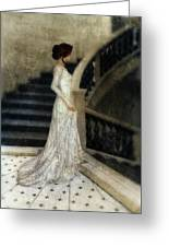 Woman In Lace Gown On Staircase Greeting Card
