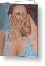 Woman In Mirror Greeting Card