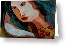 Woman In Orange And Blue Greeting Card