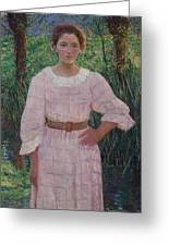 Woman In Pink Dress Greeting Card