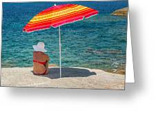 Woman In Red Bikini And White Hat Under Parasol Looking Out To S Greeting Card