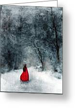 Woman In Red Cape Walking In Snowy Woods Greeting Card