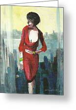 Woman In Red Dress By Condo Window Greeting Card