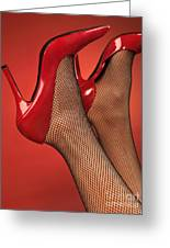Woman In Red High Heel Shoes Greeting Card