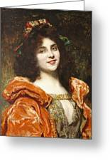 Woman In Renaissance Dress Greeting Card