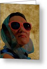 Woman In Scarf And Sunglasses Greeting Card