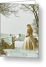 Woman In Snow Scene Greeting Card