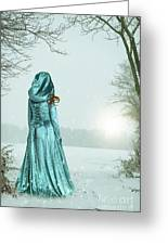 Woman In Snowy Landscape Greeting Card