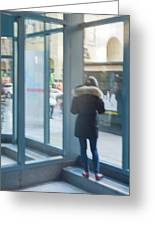 Woman In Storefront Greeting Card