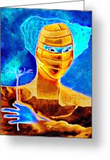 Woman In The Blue Mask Greeting Card