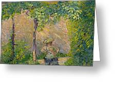 Woman In The Garden Greeting Card