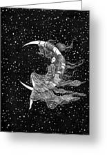 Woman In The Moon Greeting Card
