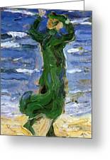 Woman In The Wind By The Sea 1907 Greeting Card