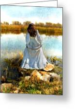 Woman In Victorian Dress By Water Greeting Card