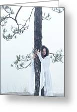 Woman In White Dress Hugging A Tree Greeting Card