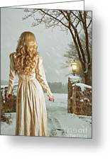 Woman In Winter Scene Greeting Card