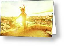 Woman Jumping At Oporto Greeting Card
