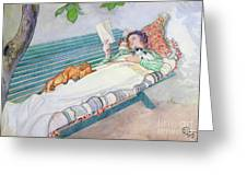 Woman Lying On A Bench Greeting Card