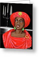 Woman Of The Candelabra Greeting Card