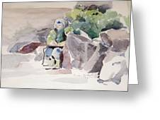 Woman Of The Rocks Greeting Card
