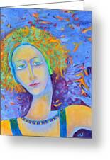 Woman Oil Portrait  Greeting Card