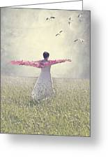 Woman On A Lawn Greeting Card by Joana Kruse
