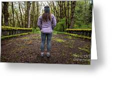 Woman On An Old Moss Covered Bridge In Olympic National Park Greeting Card