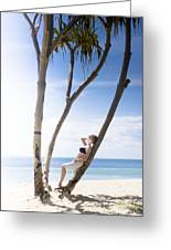 Woman On Holiday Greeting Card