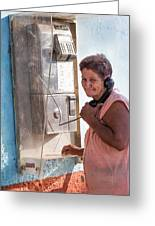 Woman On The Phone Greeting Card