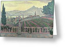 Woman On The Terrace Greeting Card