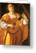Woman Playing A Lute Greeting Card