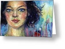 Woman  Portrait 2 Greeting Card