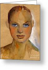 Woman Portrait Sketch Greeting Card