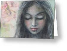 Woman Praying Meditation Painting Print Greeting Card