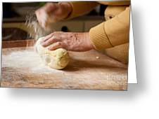 Woman Preparing Dough For Kopytka Greeting Card