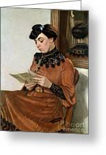 Woman Reading Greeting Card by Felix Edouard Vallotton
