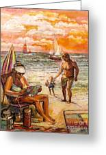 Woman Reading On The Beach Greeting Card