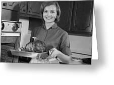 Woman Removing Roast From Oven, C.1960s Greeting Card